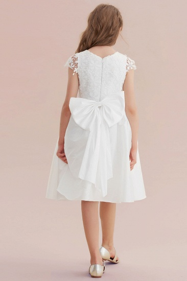 BMbridal A-Line Cap Sleeve Lace Bow Flower Girl Dress On Sale_3