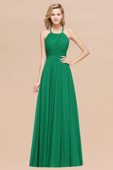 BMbridal Halter Crisscross Pleated Bridesmaid Dress Blue Chiffon Sleeveless Maid of Honor Dress_49