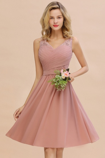 Affordable V-Neck Sleeveless Ruffles Short Lace Bridesmaid dresses Online_5