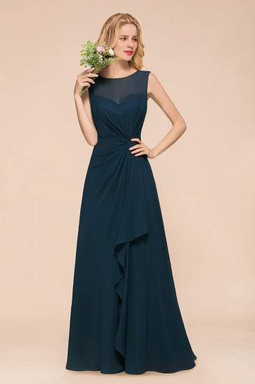 BMbridal Beautiful Chiffon Jewel Ruffle Navy Affordable Bridesmaid Dresses Online_7