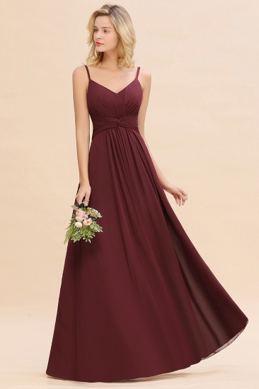 Modest Ruffle Spaghetti Straps Backless Burgundy Bridesmaid Dresses Cheap_53