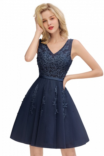 BMbridal Elegant V-Neck Sleeveless Short Prom Dress Mini Homecoming Dress With Lace Appliques_10