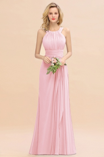 Elegant Round Neck Sleeveless Stormy Bridesmaid Dress with Ruffles_4