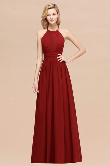 Elegant High-Neck Halter Long Affordable Bridesmaid Dresses with Ruffles_48