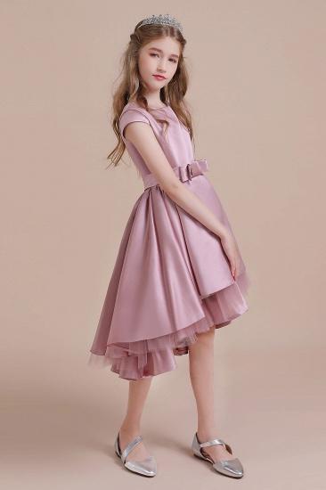 BMbridal A-Line Cap Sleeve Satin High-low Flower Girl Dress Online_4