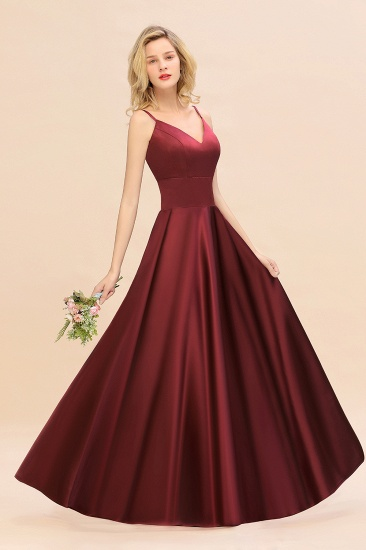 Chic Spaghetti-Straps Burgundy Satin Long Bridesmaid Dress Online_7