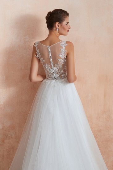 Exquisite Sequins White Tulle Affordable Wedding Dresses with Appliques_10