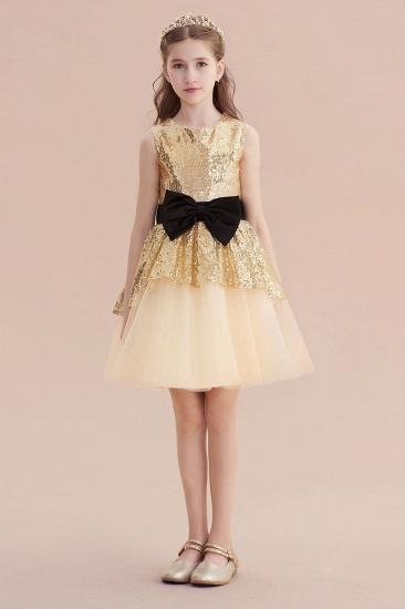BMbridal A-Line Tulle Sequins Bows Knee Length Flower Girl Dress On Sale_4