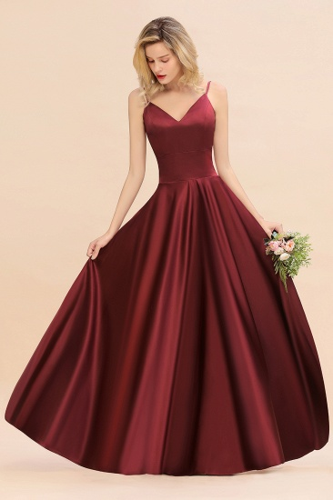 Chic Spaghetti-Straps Burgundy Satin Long Bridesmaid Dress Online_6