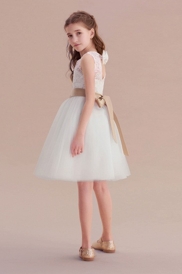 BMbridal A-Line Bow Tulle Lace Knee Length Flower Girl Dress Online_7