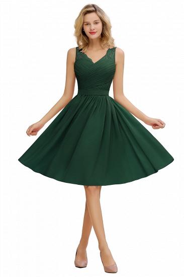 BMbridal A-line Chiffon Ruffle Bridesmaid Dress Sleeveless Lace Homecoming Dress_3