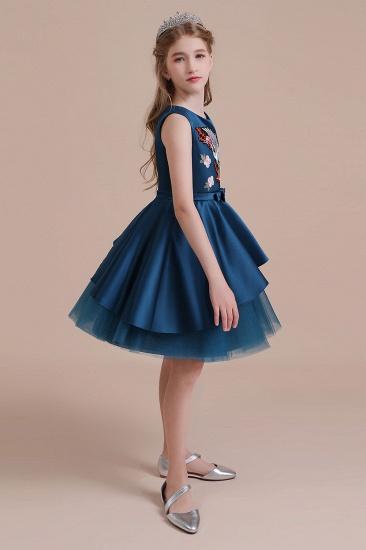 BMbridal A-Line Embroidered Satin Tulle Flower Girl Dress On Sale_8
