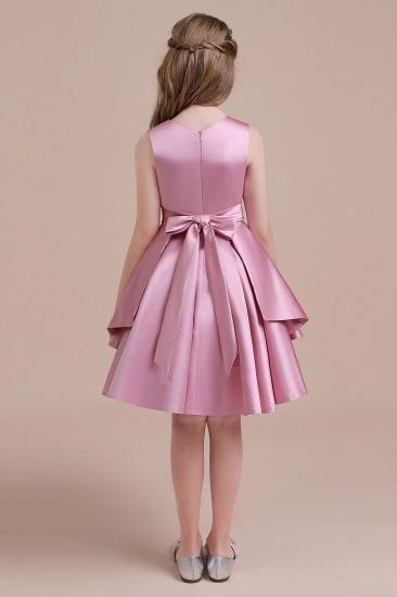 BMbridal A-Line Best Satin Knee Length Flower Girl Dress Online_3