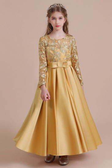 BMbridal A-Line Long Sleeve Satin Ankle Length Flower Girl Dress Online_8