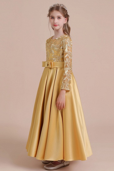BMbridal A-Line Long Sleeve Satin Ankle Length Flower Girl Dress Online_6