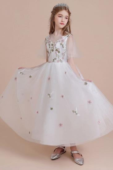 BMbridal A-Line Short Sleeve Embroidered Tulle Flower Girl Dress On Sale_5