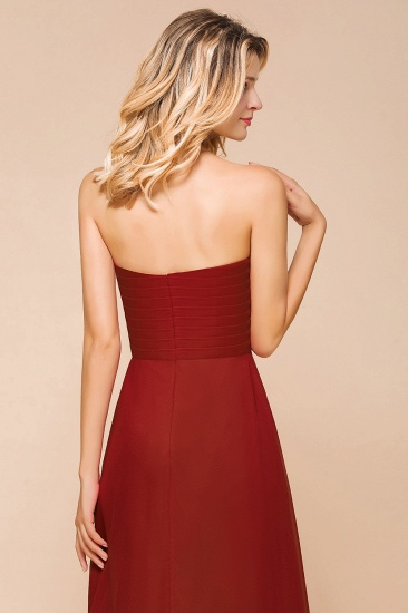 Gorgeous Sweetheart Strapless Rust Bridesmaid Dresses with Ruffle_8