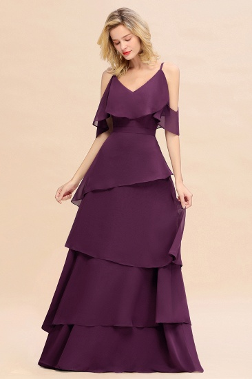 BMbridal Chic Cold-Shoulder Layers Grape Chiffon Bridesmaid Dress Affordable_5