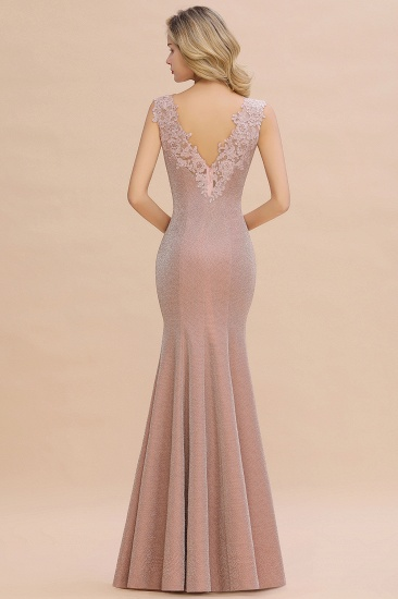 BMbridal Dusty Pink Shinning Long Prom Dress Mermaid With Appliques_8