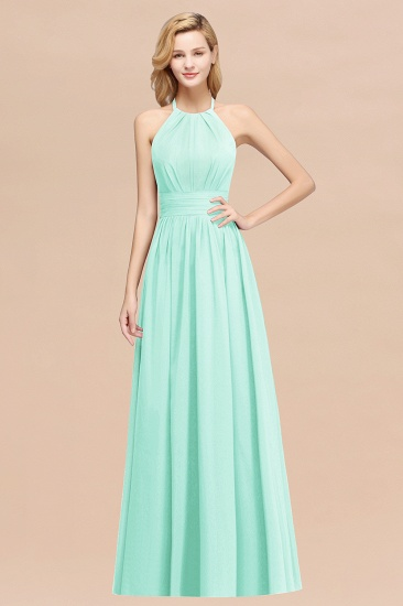 Elegant High-Neck Halter Long Affordable Bridesmaid Dresses with Ruffles_36