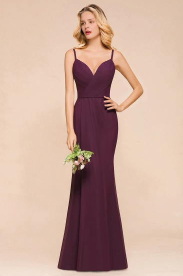 Fantastic Spaghetti Straps V-Neck Grape Bridesmaid Dress with Ruffle_6