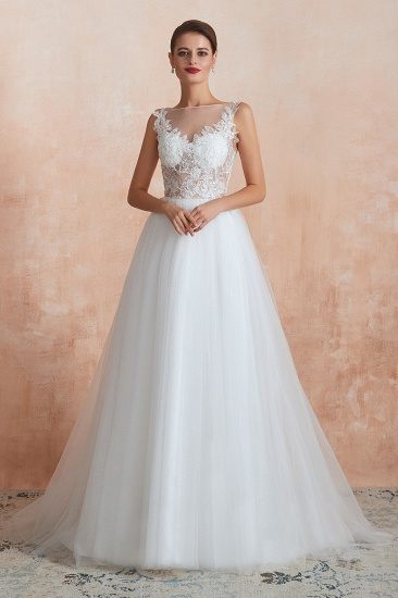 Exquisite Sequins White Tulle Cheap Wedding Dresses with Appliques_5