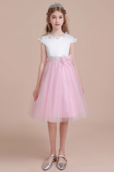 BMbridal A-Line Cap Sleeve Tulle Knee Length Flower Girl Dress Online
