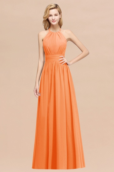 Elegant High-Neck Halter Long Affordable Bridesmaid Dresses with Ruffles_15