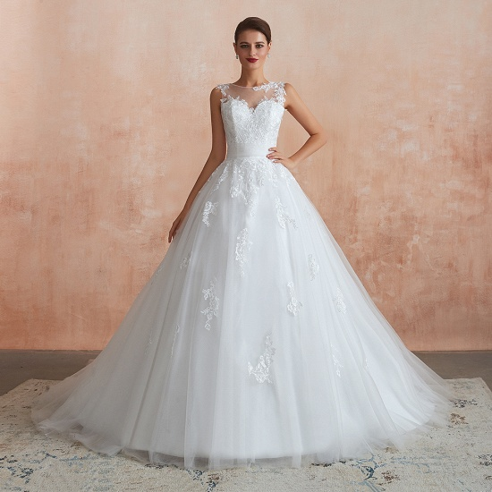 Affordable Sweetheart Sleeveless White Lace Wedding Dresses Online_3