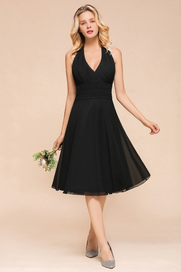 BMbridal Affordable Halter V-Neck Black Short Bridesmaid Dresses Online_1