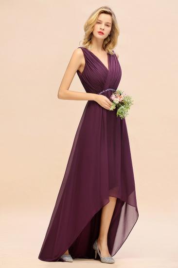Chic Hi-Lo V Neck Ruffle Bridesmaid Dress with Beading Sash_4