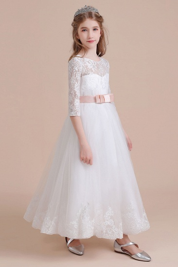 BMbridal A-Line Illusion Lace Tulle Ankle Length Flower Girl Dress On Sale_4