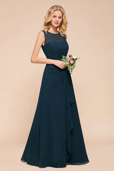 BMbridal Beautiful Chiffon Jewel Ruffle Navy Affordable Bridesmaid Dresses Online_5