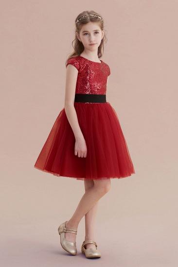 BMbridal A-Line Cap Sleeve Sequins Tulle Flower Girl Dress On Sale_6