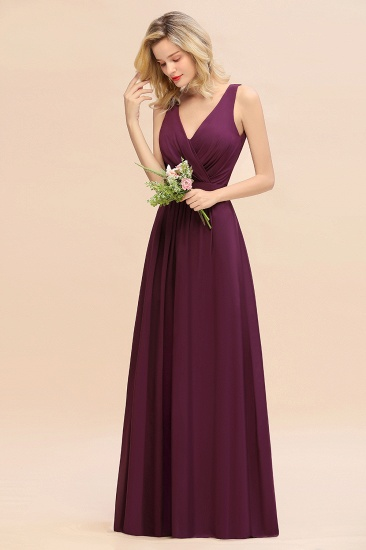 BMbridal Affordable V-Neck Ruffle Long Grape Chiffon Bridesmaid Dress with Bow_5