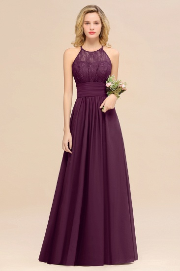 Elegant Halter Ruffles Sleeveless Grape Lace Bridesmaid Dresses Cheap_53