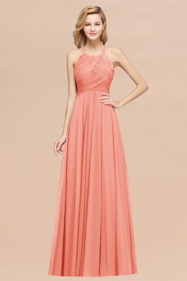 BMbridal Halter Crisscross Pleated Bridesmaid Dress Blue Chiffon Sleeveless Maid of Honor Dress_45