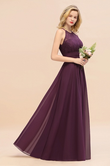 Elegant Halter Ruffles Sleeveless Grape Lace Bridesmaid Dresses Cheap_56