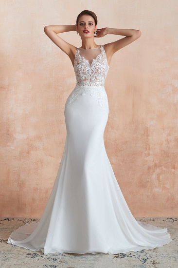 BMbridal Beautiful Mermaid V-Neck White Lace Wedding Dresses Affordable Online_4