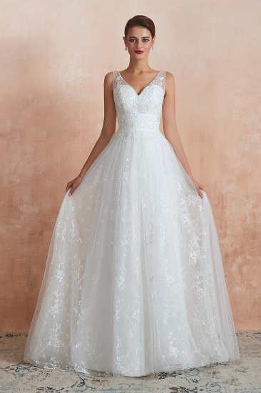BMbridal Affordable V-Neck Tulle Lace Long White Wedding Dresses Online_1