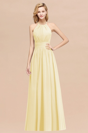 Elegant High-Neck Halter Long Affordable Bridesmaid Dresses with Ruffles_18