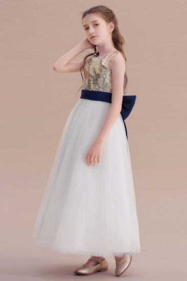 BMbridal A-Line Bow Sequins Ankle Length Flower Girl Dress Online_5