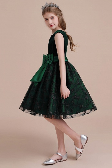 BMbridal A-Line Lace Velvet Knee Length Flower Girl Dress Online_5