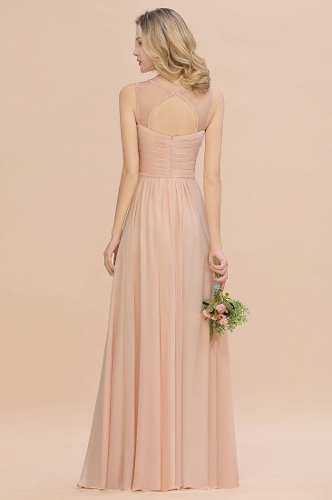 Elegant Spaghetti Straps Pink Backless Bridesmaid Dresses with Beadings_3