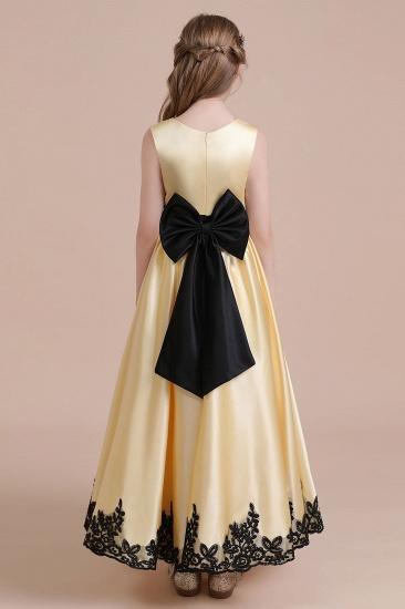 BMbridal A-Line Chic Bow Appliques Satin Flower Girl Dress Online_3