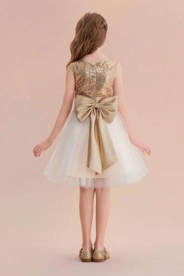 BMbridal A-Line Sequins Tulle Bow Flower Girl Dress On Sale_3