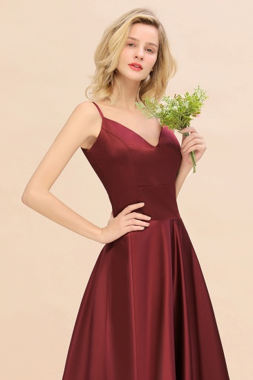 Chic Spaghetti-Straps Burgundy Satin Long Bridesmaid Dress Online_8