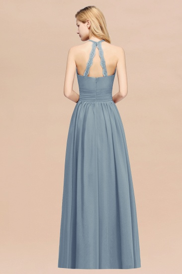 Elegant High-Neck Halter Long Affordable Bridesmaid Dresses with Ruffles_52