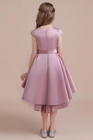 BMbridal A-Line Cap Sleeve Satin High-low Flower Girl Dress Online_3