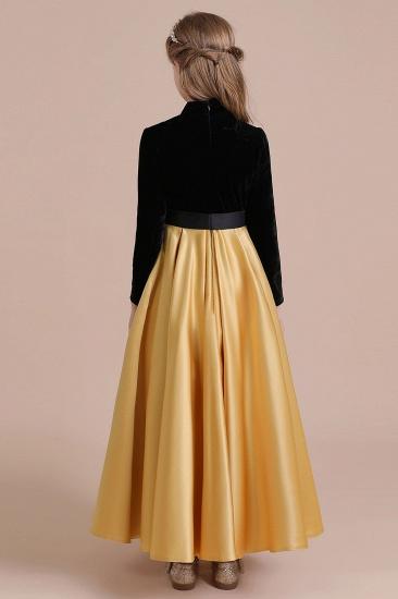 BMbridal A-Line High-neck Velvet Satin Flower Girl Dress Online_10